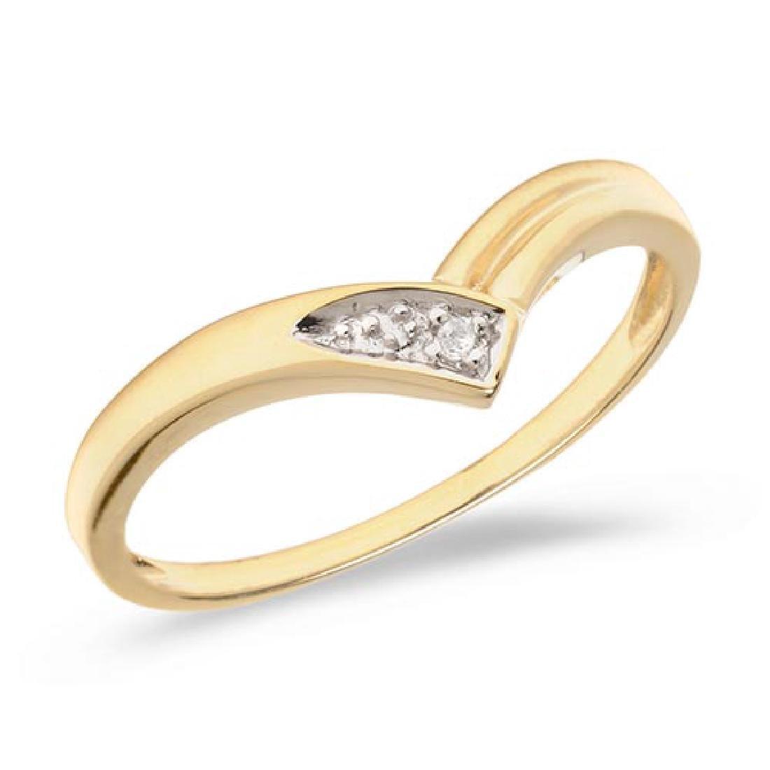 Certified 14K Yellow Gold Diamond Chevron Ring 0.01 CTW