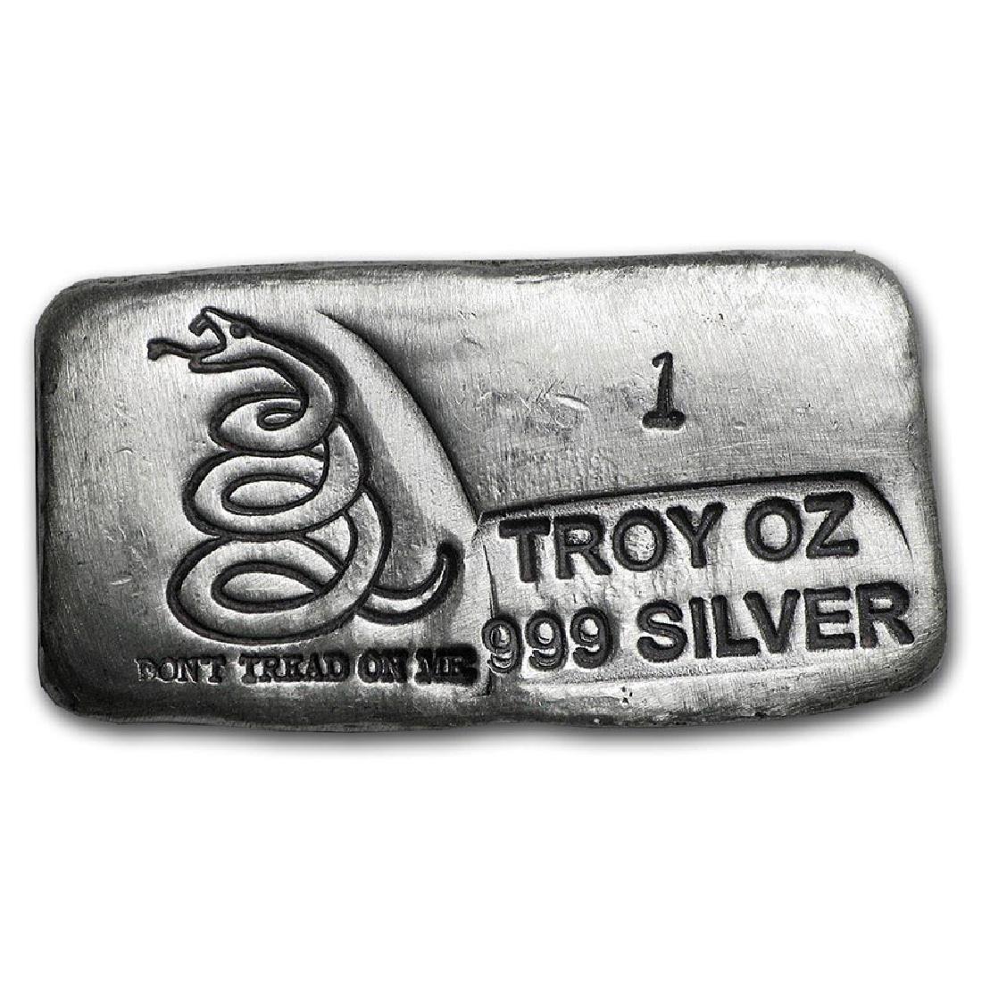 1 oz Silver Bar - Don't Tread On Me (PG&G)