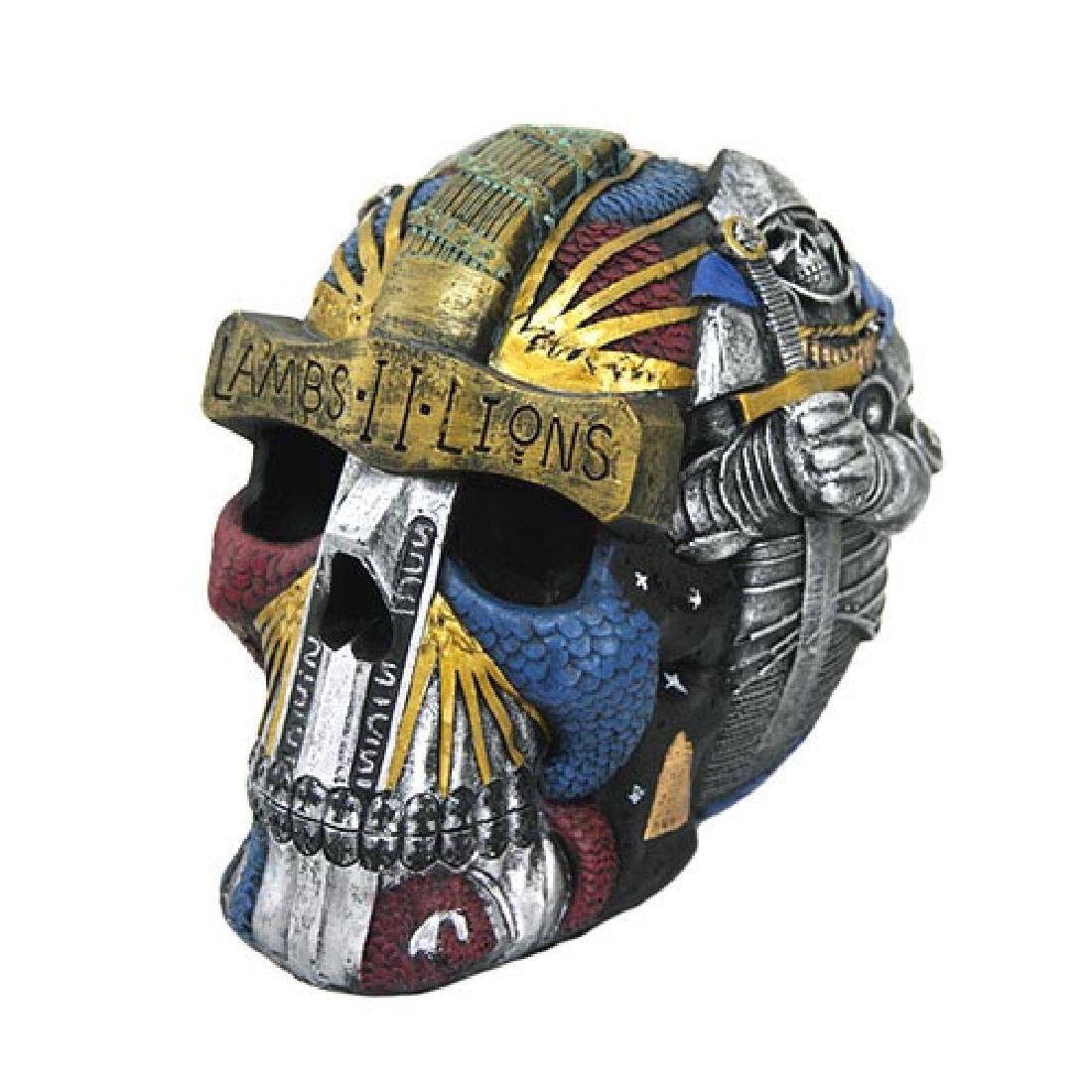 """HAND PAINTED RESIN COLORFUL TEMPLAR SKULL L: 6 1/2"""""""