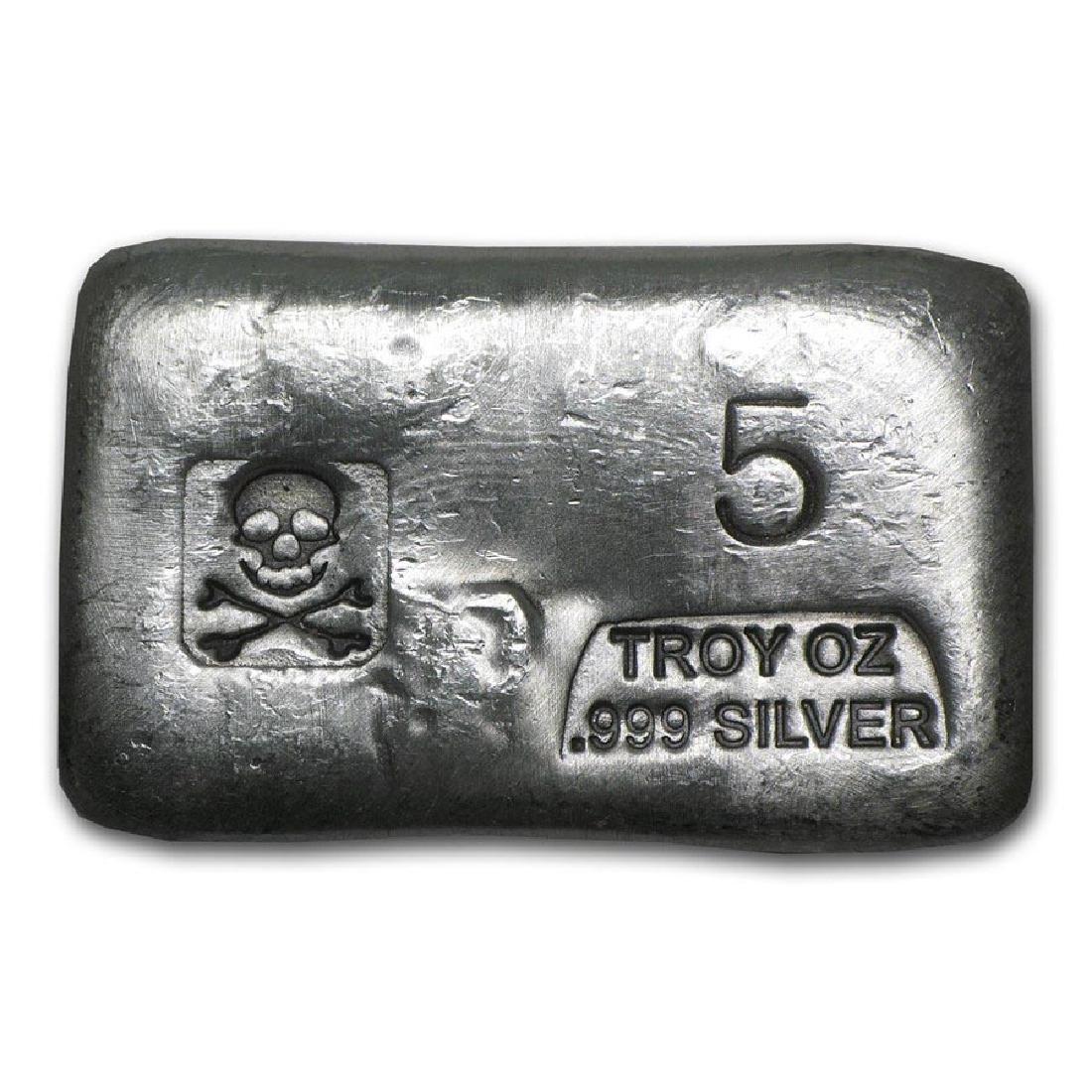 5 oz Silver Bar - Skull & Bones (PG&G)