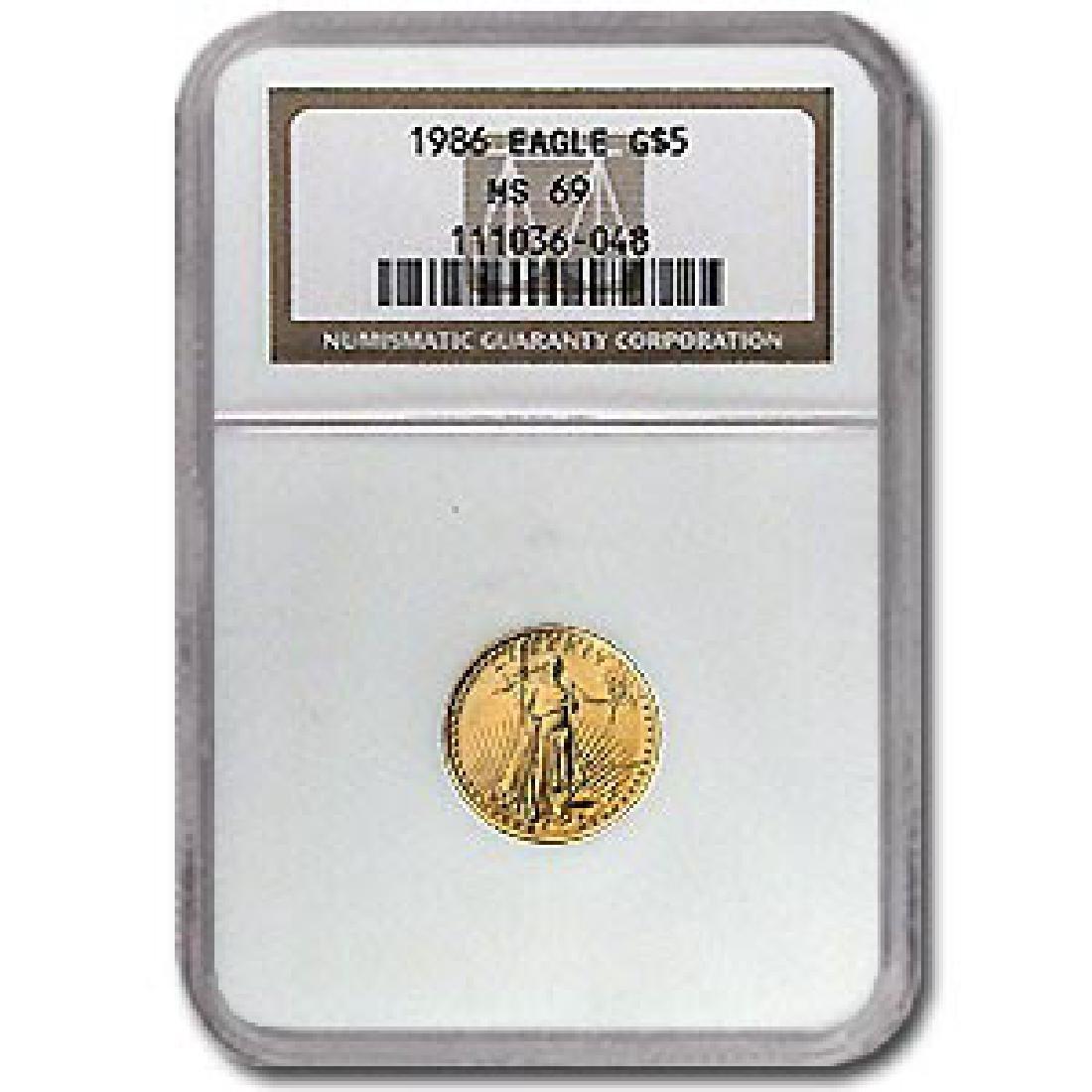 1986 1/10 oz Gold American Eagle MS-69 NGC