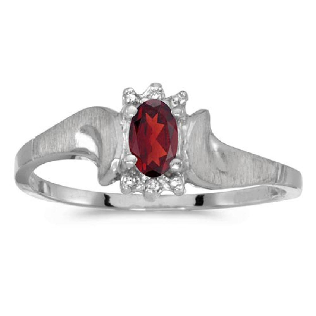 Certified 14k White Gold Oval Garnet And Diamond Satin