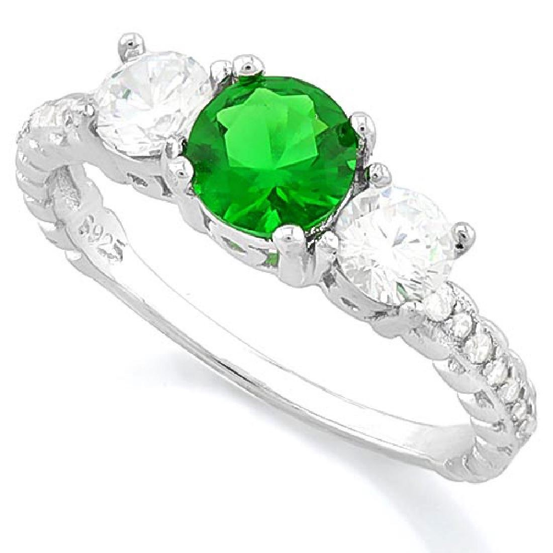 CREATED EMERALD 925 STERLING SILVER HALO RING