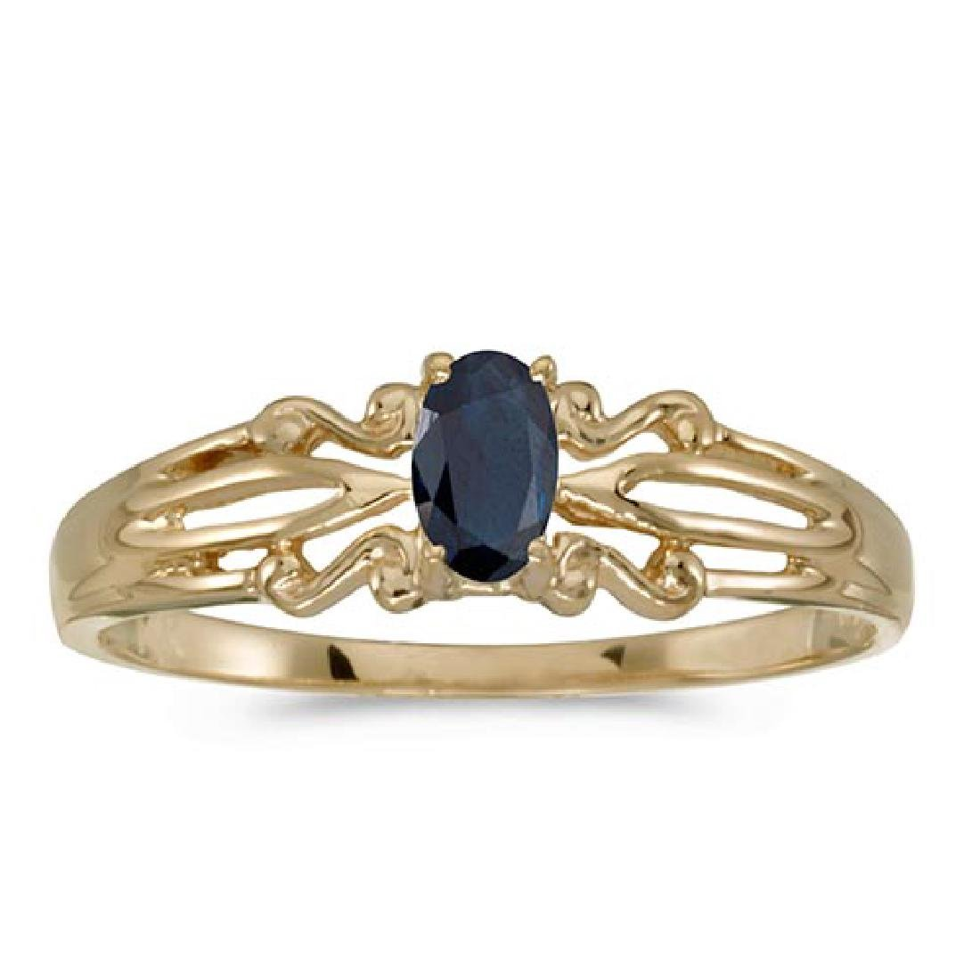Certified 14k Yellow Gold Oval Sapphire Ring 0.25 CTW