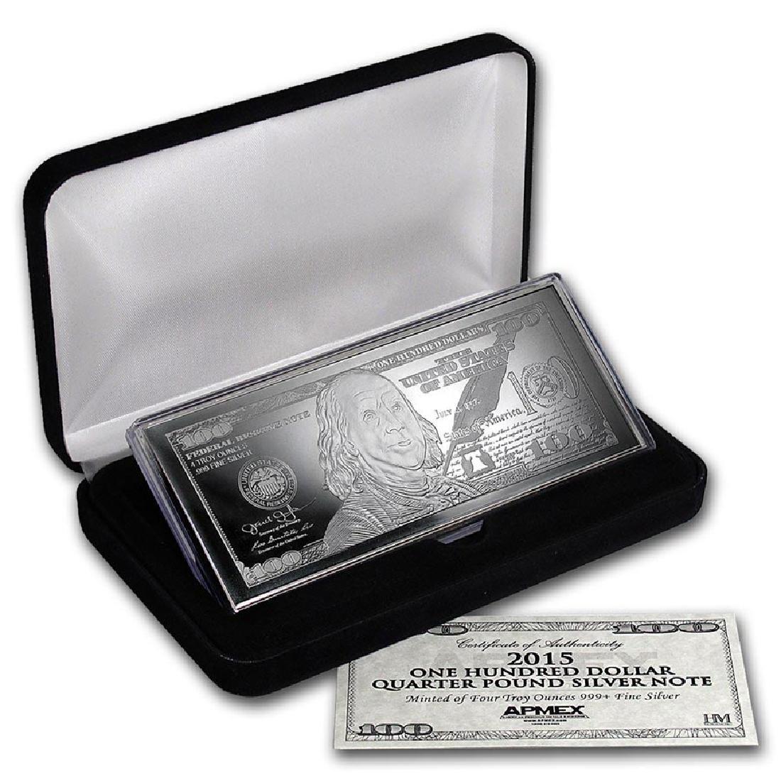 4 oz Silver Bar - 2015 $100 Bill (W/Box & COA)