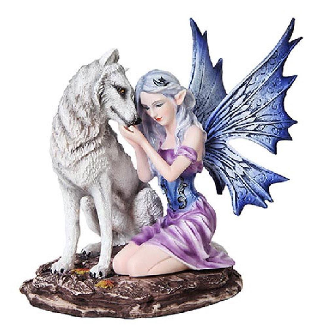 """HAND PAINTED RESIN FAIRY WITH WOLF 6 1/2"""" x 5"""" x 6 3/4"""""""