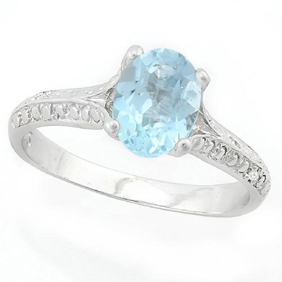 1 1/3 CARAT BABY SWISS BLUE TOPAZ & DIAMOND 925 STERLIN