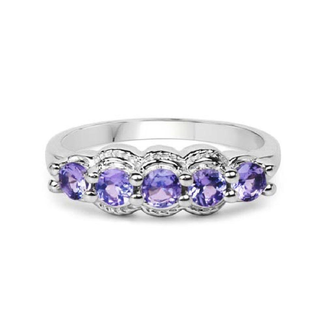 0.75 Carat Genuine Tanzanite .925 Sterling Silver Ring