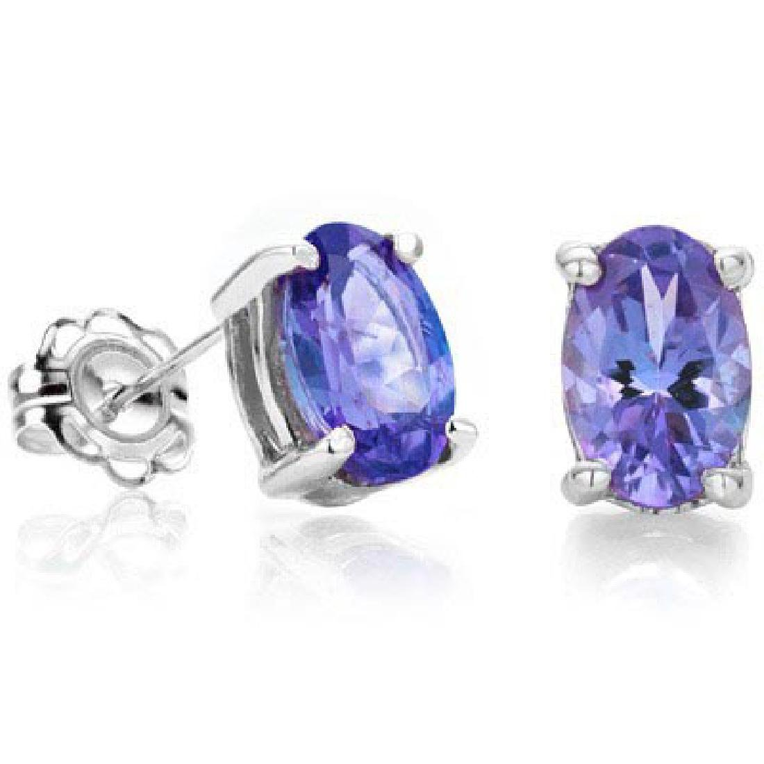 0.90 CT GENUINE TANZANITE 0.925 STERLING SILVER EARRING