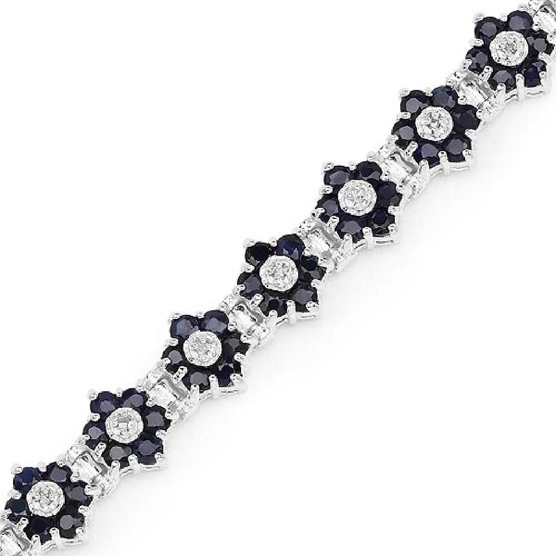 6.31 Carat Genuine Blue Sapphire and White Diamond .925