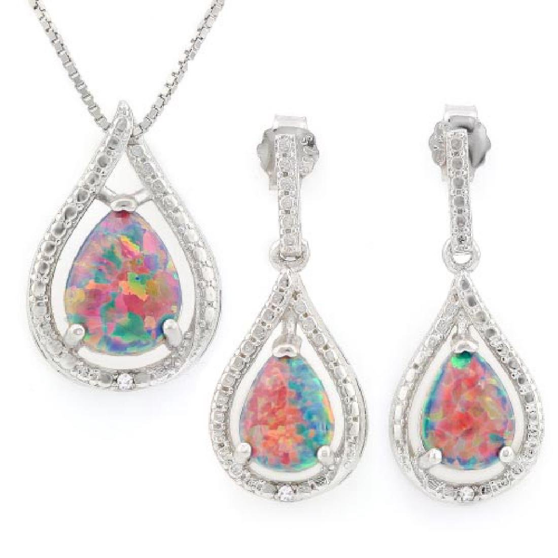 2 CARAT CREATED BLACK FIRE OPAL 925 STERLING SILVER SET