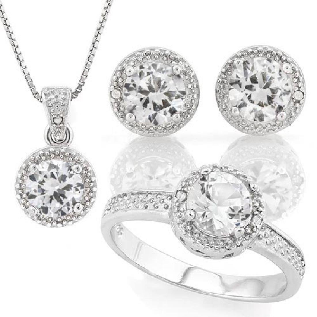 4 CARAT CREATED WHITE SAPPHIRES & GENUINE DIAMONDS 925