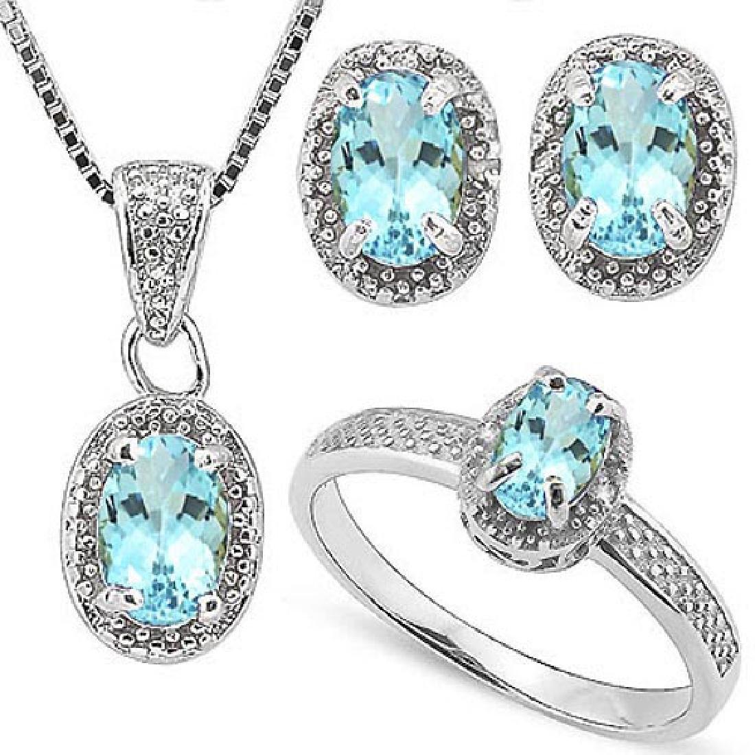 2 2/5 CARAT BABY SWISS BLUE TOPAZS & GENUINE DIAMONDS 9