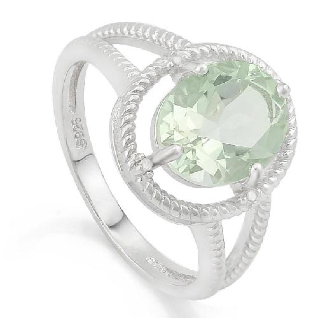 2 2/5 CARAT GREEN AMETHYST & GENUINE DIAMONDS 925 STERL