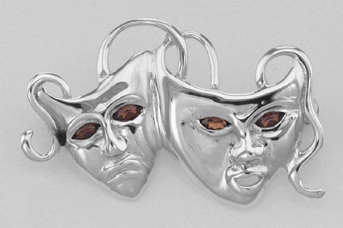Comedy & Tragedy Pin with Garnet Eyes - Sterling Silver