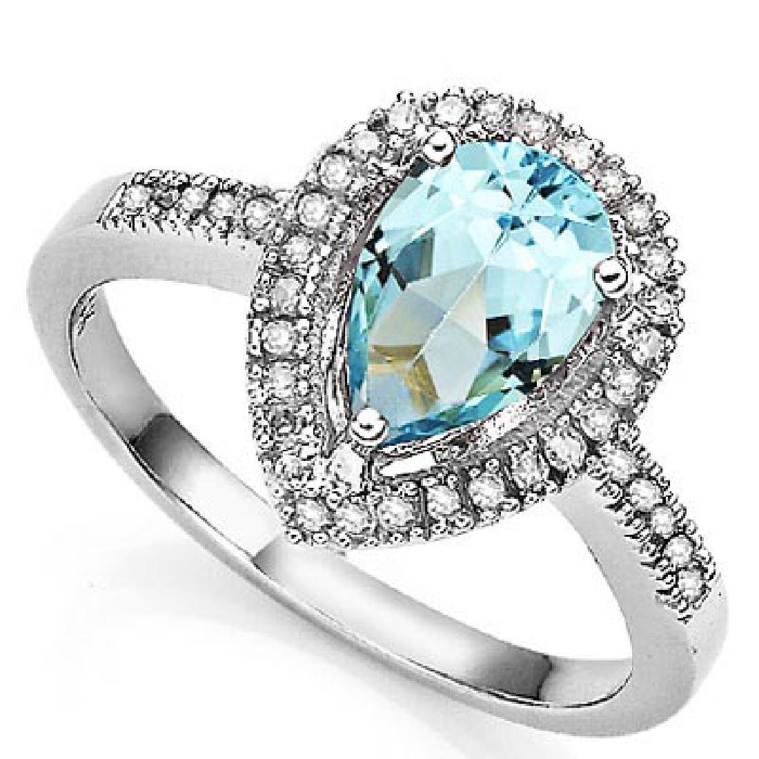 1 3/5 CARAT BABY SWISS BLUE TOPAZ & DIAMOND 925 STERLIN