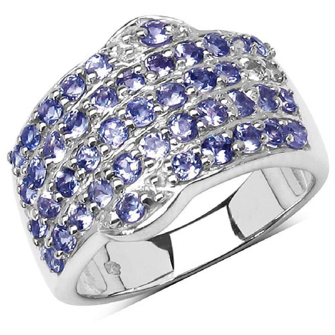 1.58 Carat Genuine Tanzanite .925 Streling Silver Ring