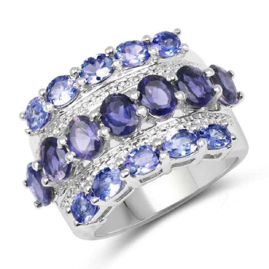3.87 Carat Genuine Tanzanite and Iolite .925 Sterling S