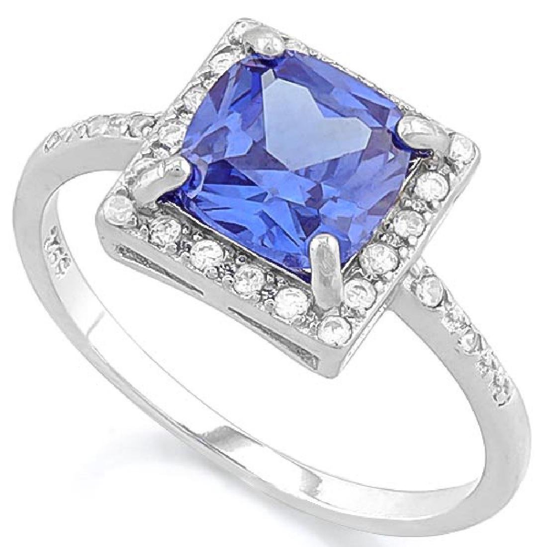 2 3/5 CARAT LAB TANZANITE & (24 PCS) FLAWLESS CREATED D