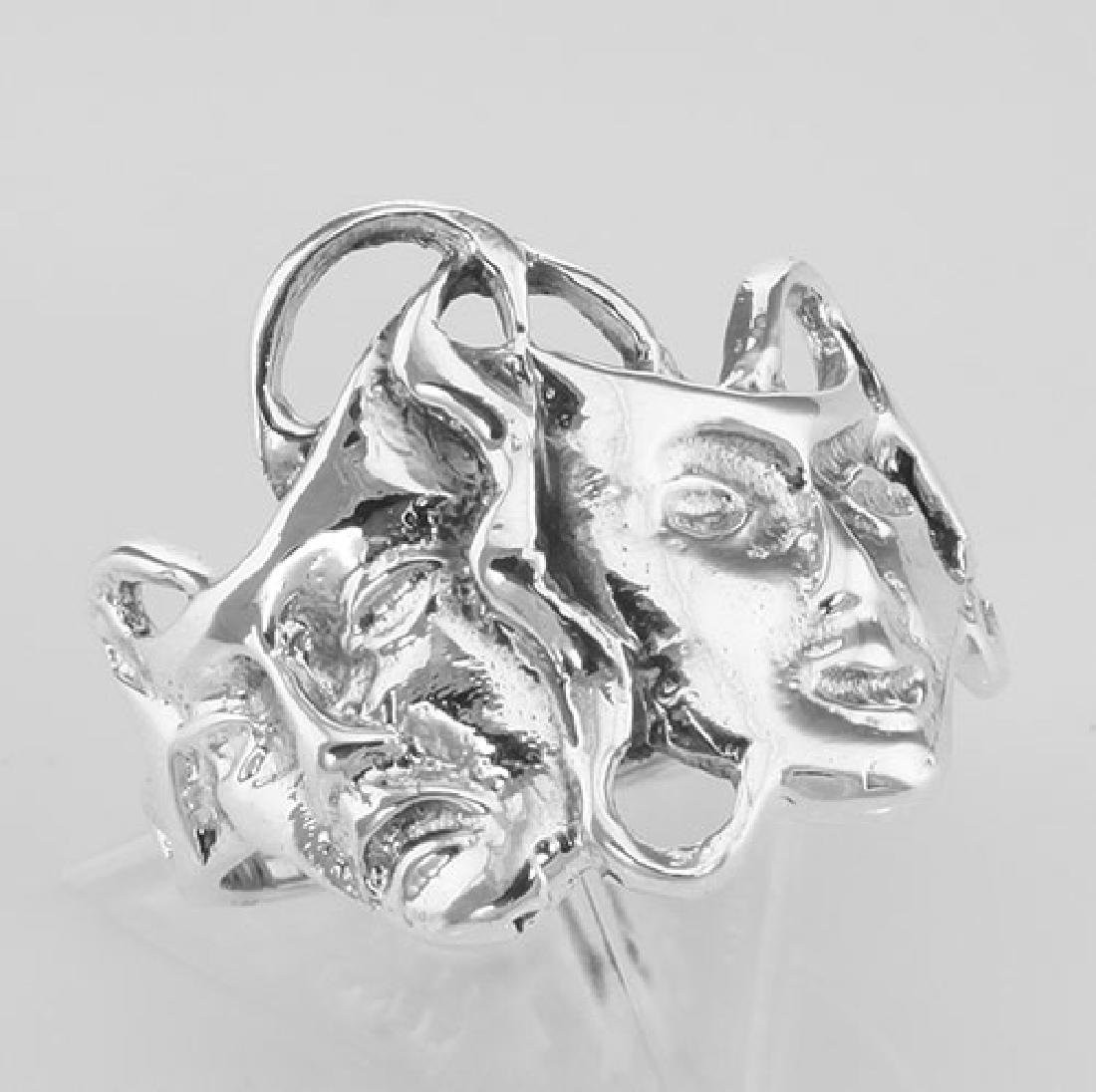 Classic Comedy & Tragedy Ring - Sterling Silver