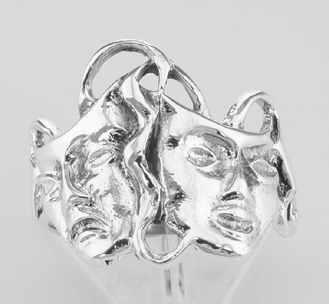 Classic Comedy & Tragedy Ring - Sterling Silver - 2