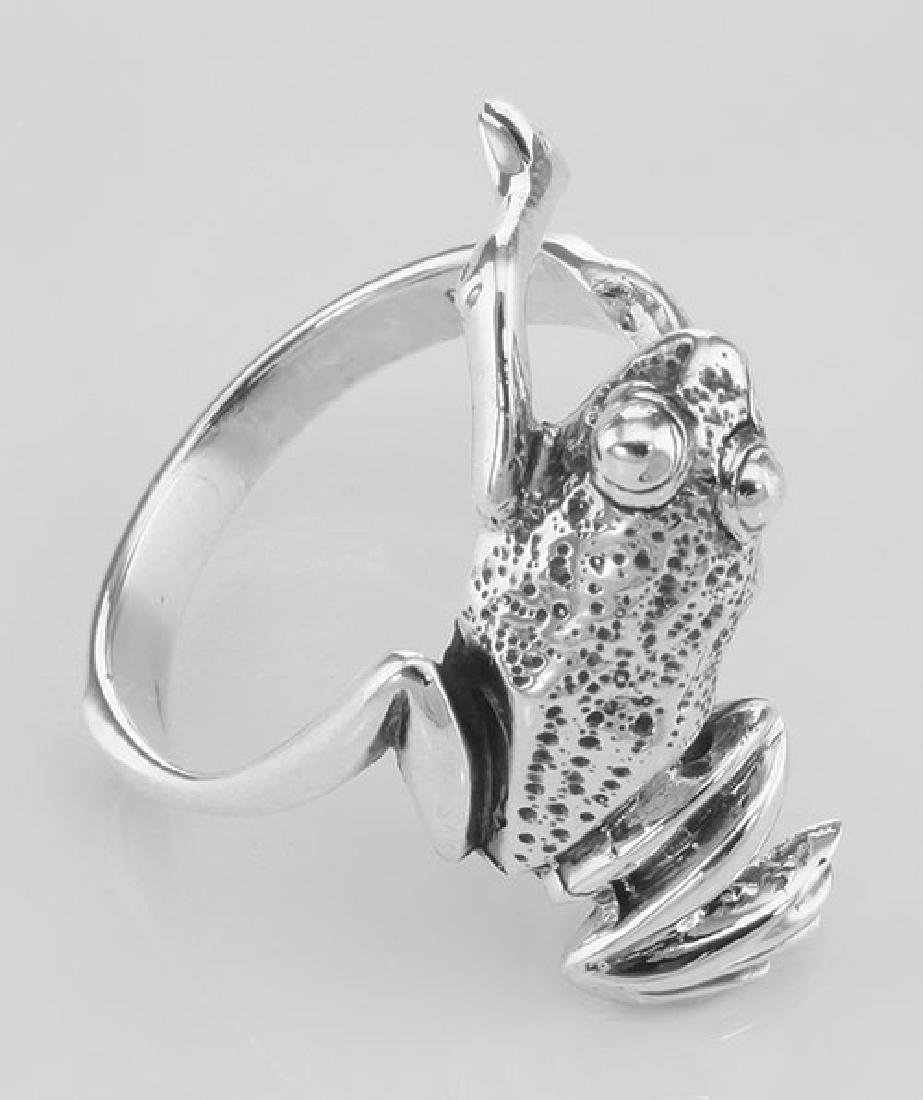 Fun Frog Ring - Hugger Style - Sterling Silver - 3
