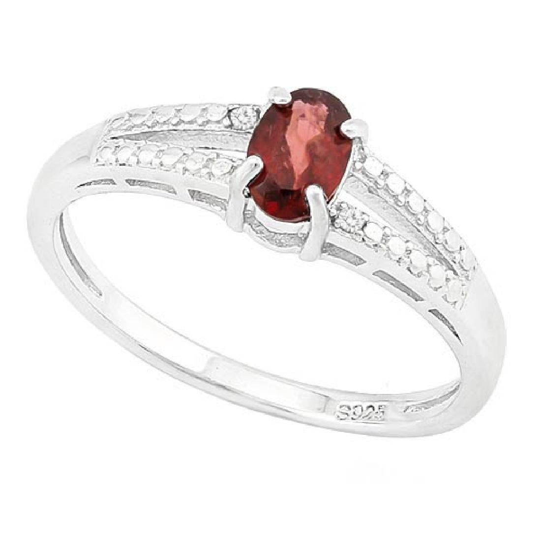 1/2 CARAT GARNET & GENUINE DIAMONDS 925 STERLING SILVER