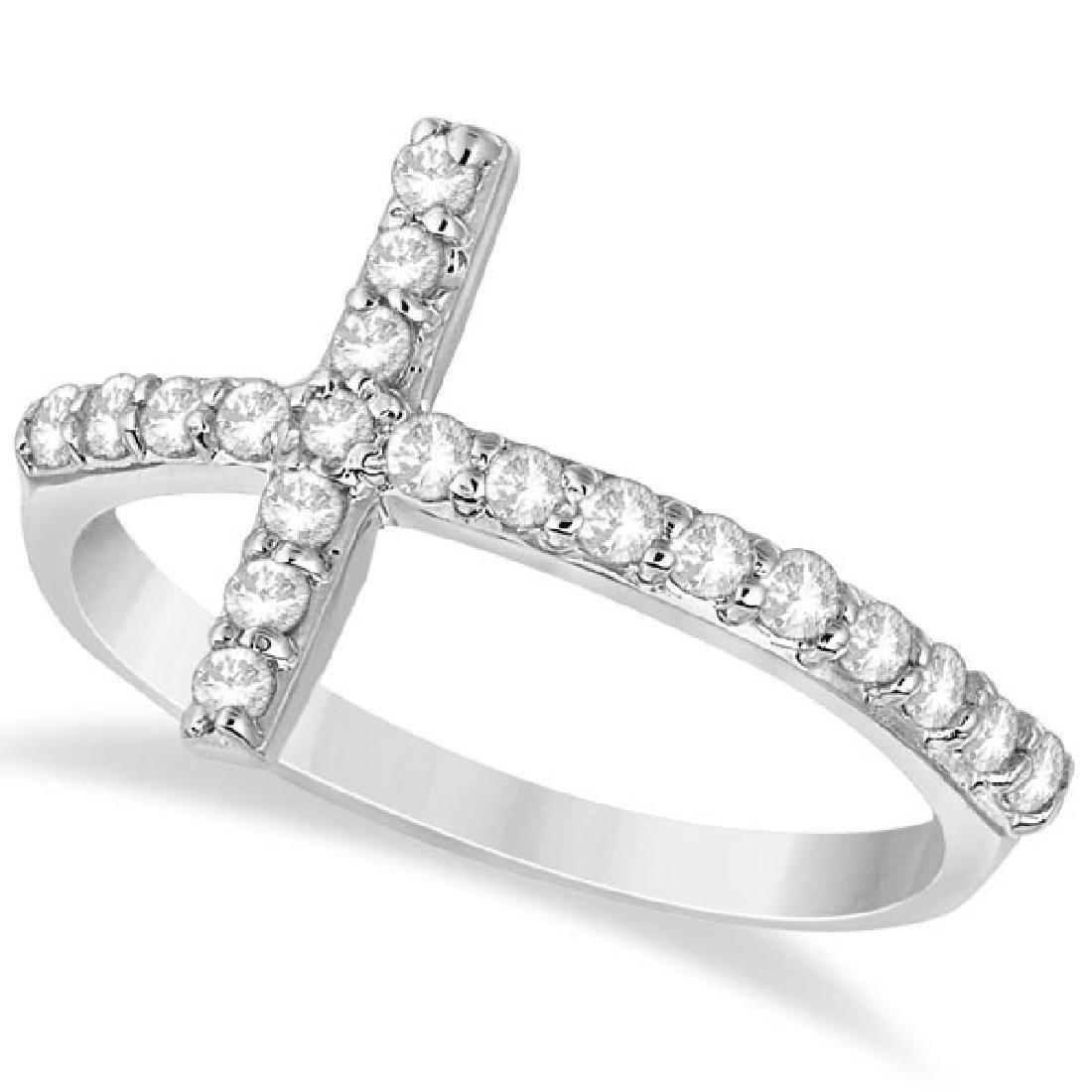 Modern Sideways Diamond Cross Fashion Ring in 14k White