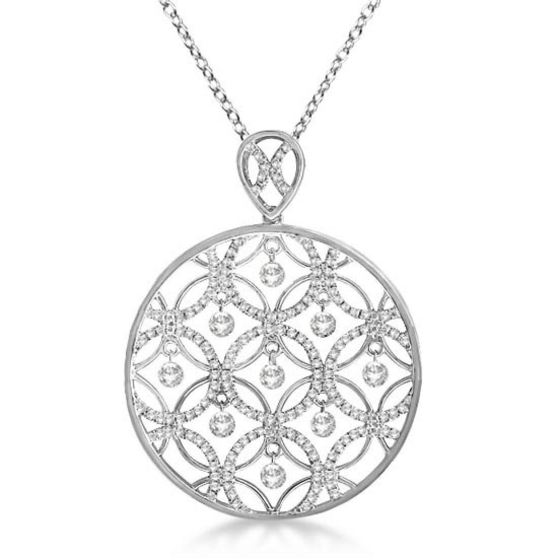 Drilled Set Diamond Circle Pendant Necklace 14k White G