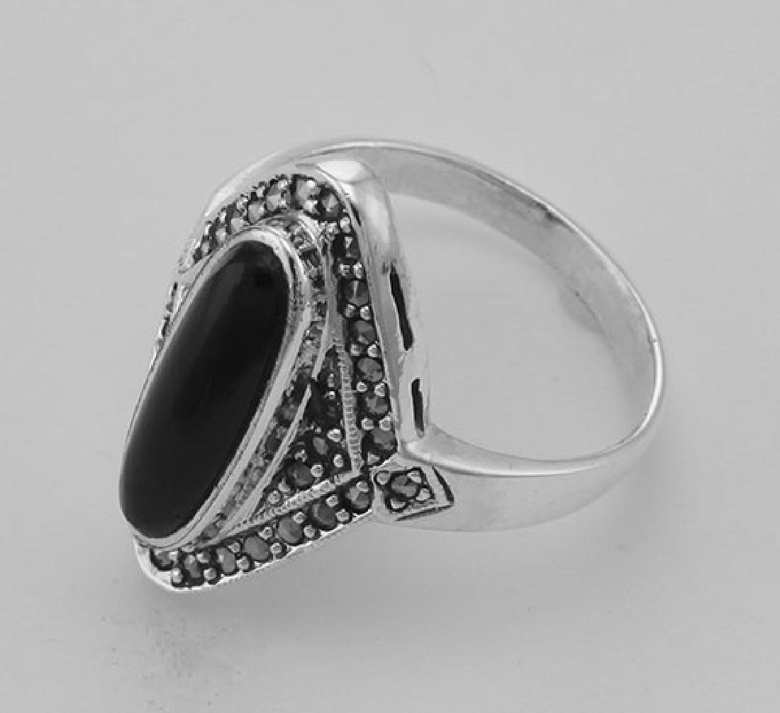 Onyx and Marcasite Ring - Sterling Silver - 3