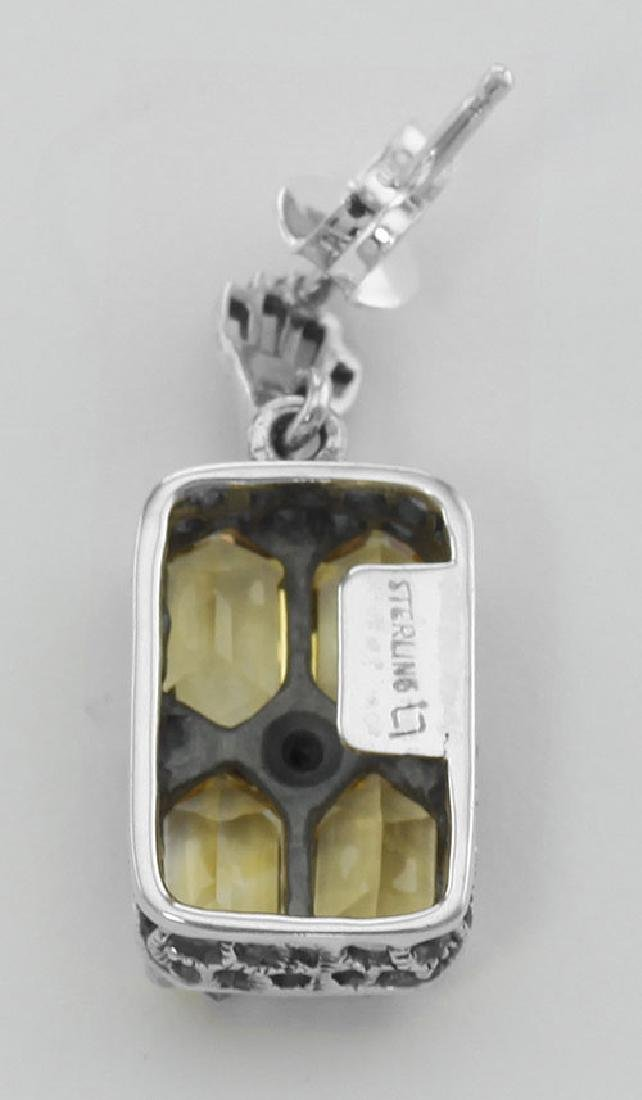 Art Deco Style Citrine w/ Diamond Art Deco Earrings - S - 2