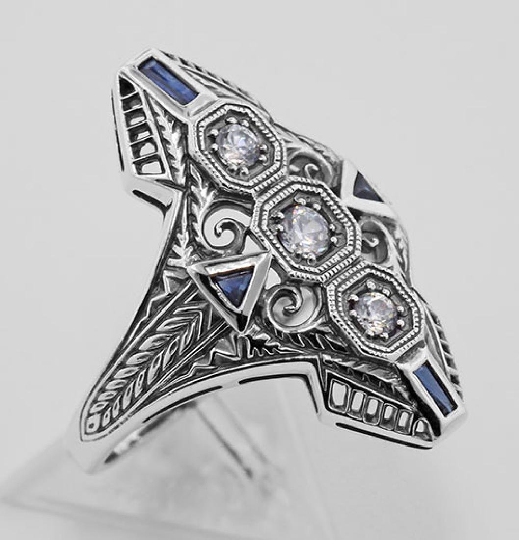Art Deco Filigree Ring CZ / Sapphires Sterling Silver