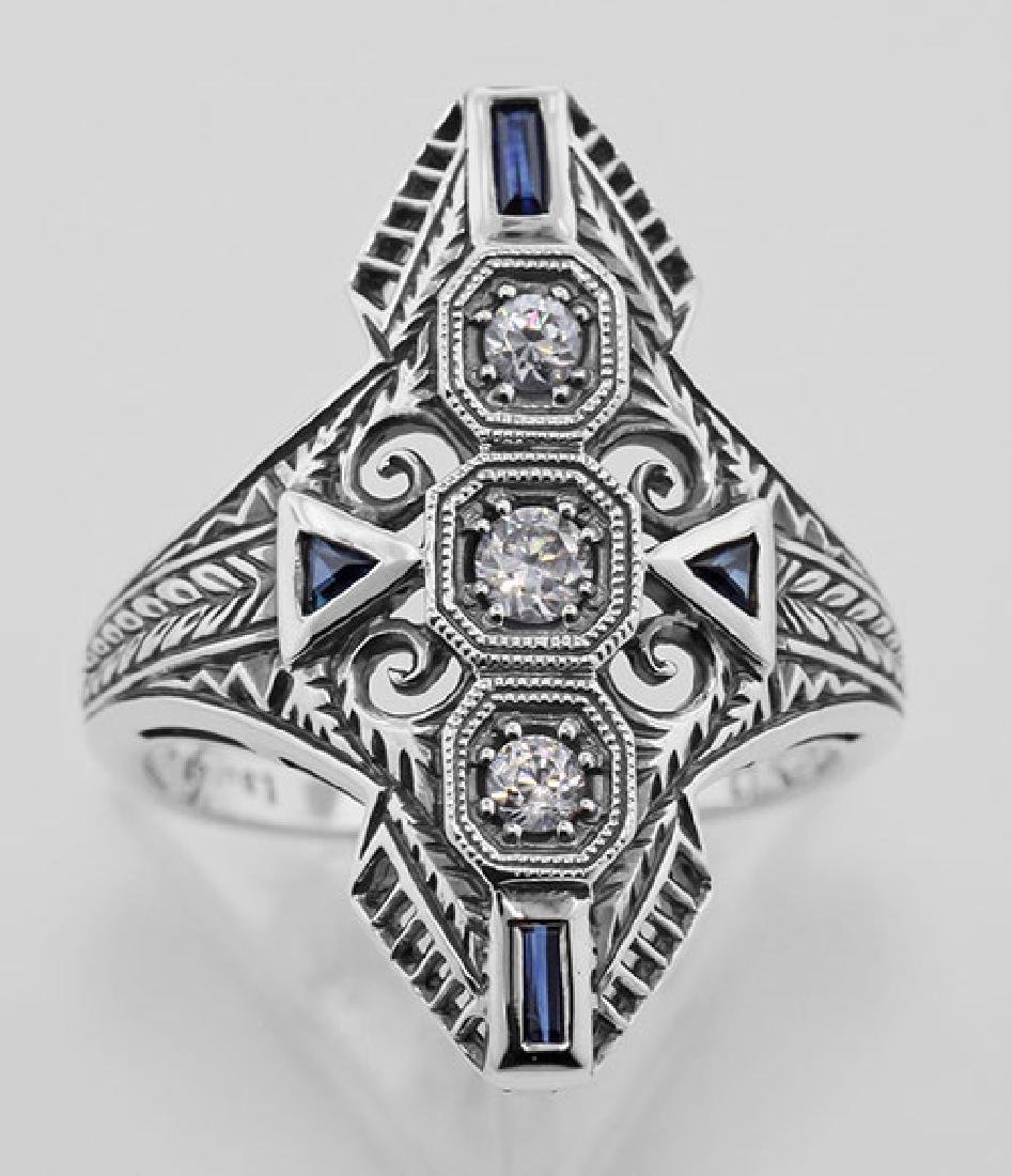 Art Deco Filigree Ring CZ / Sapphires Sterling Silver - 2