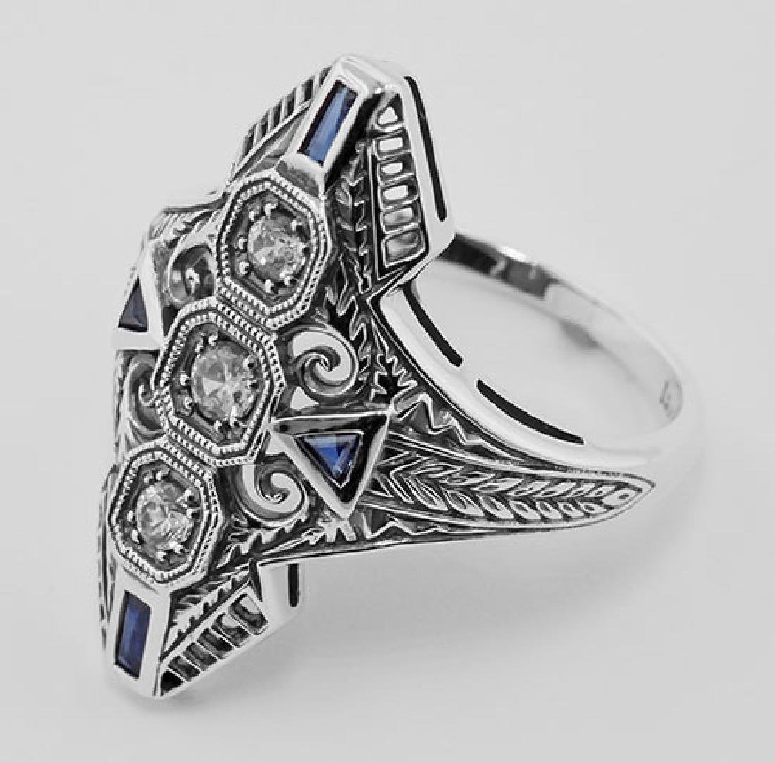 Art Deco Filigree Ring CZ / Sapphires Sterling Silver - 3