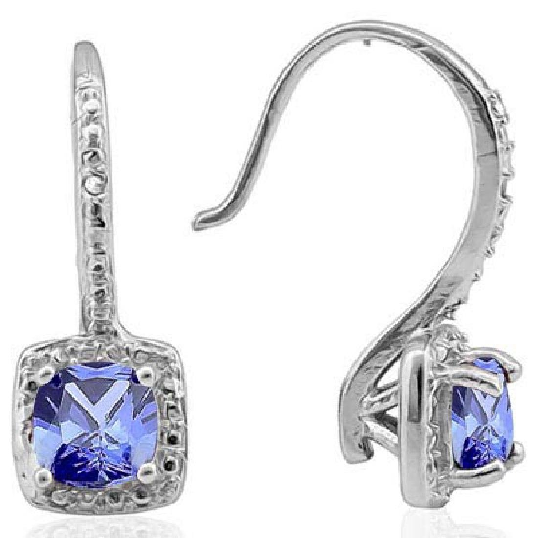 1 4/5 CARAT LAB TANZANITE & DIAMOND 925 STERLING SILVER