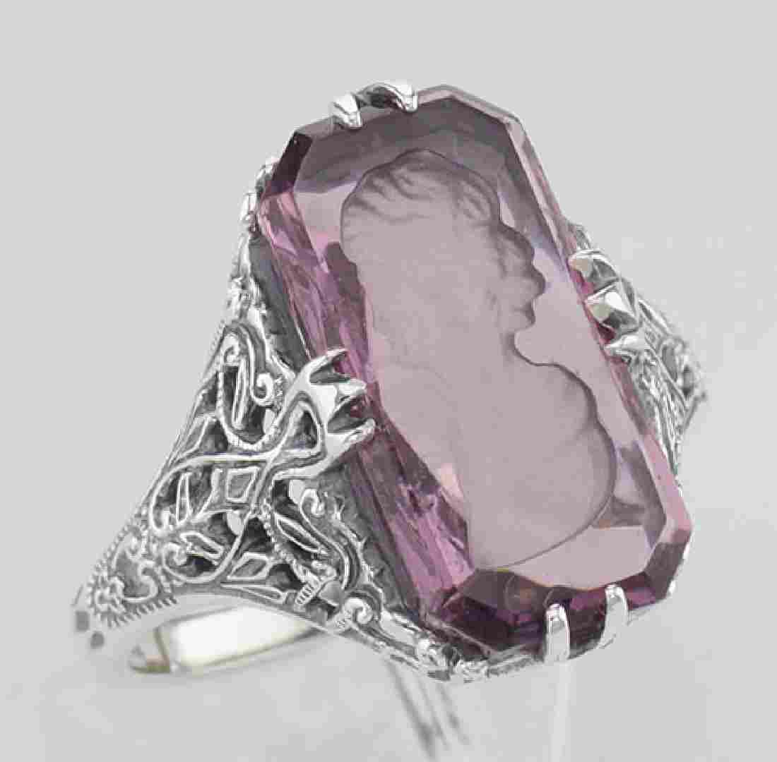 Roman Style Amethyst Crystal Intaglio Filigree Ring - S