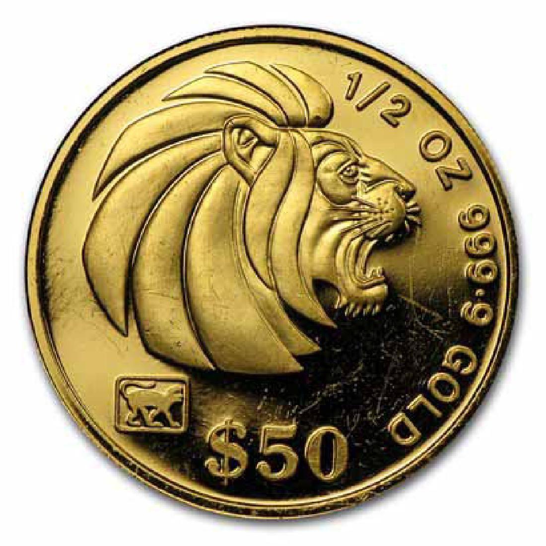 1990-Date Singapore 1/2 oz Gold $50 Lion BU/Proof (Rand