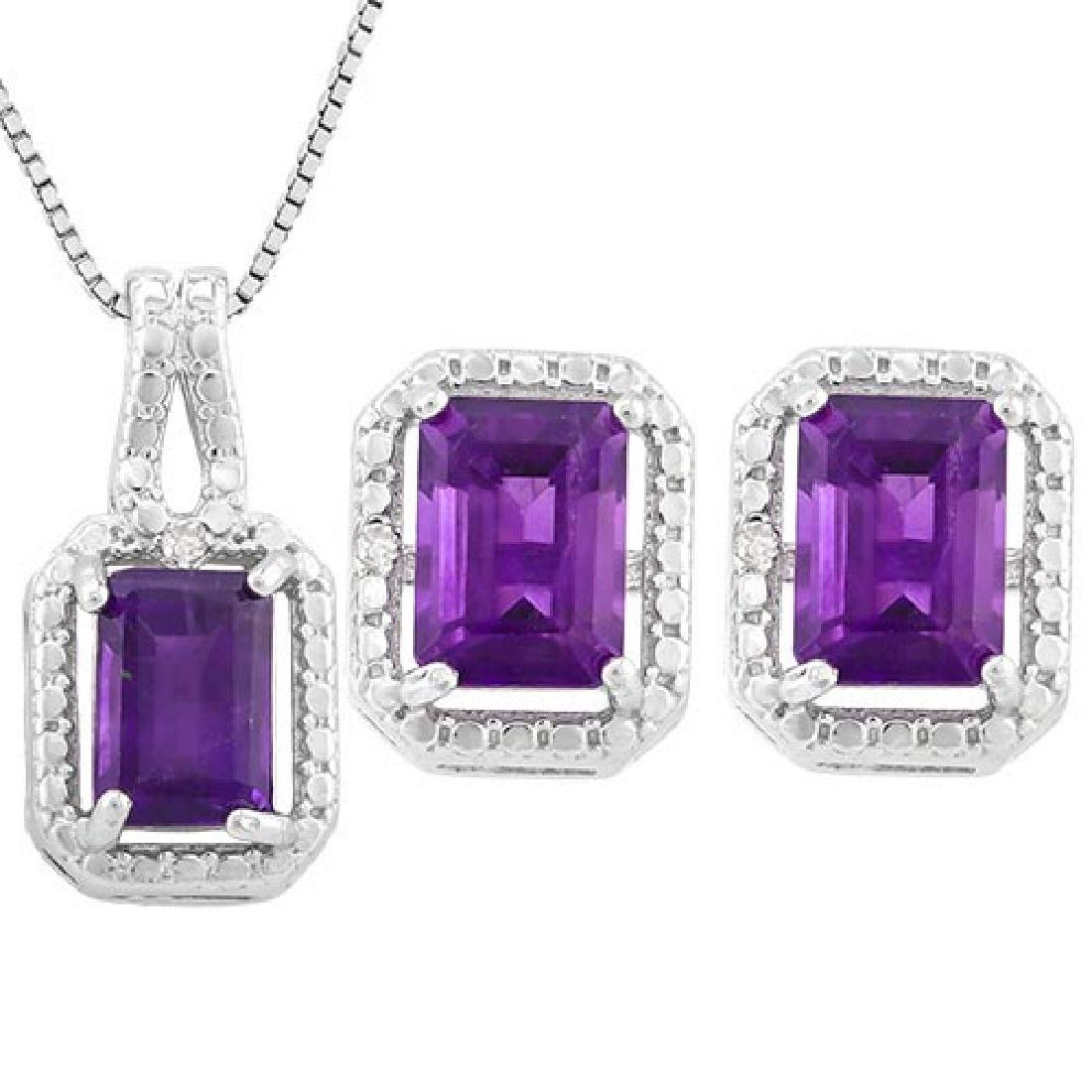 3 CARAT AMETHYST & DIAMOND 925 STERLING SILVER SET