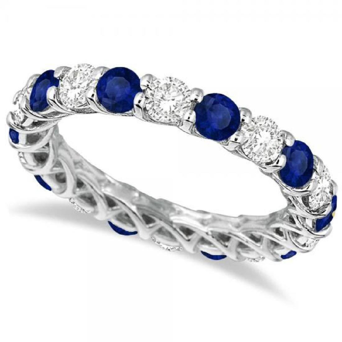 Luxury Diamond and Blue Sapphire Eternity Ring Band 14k