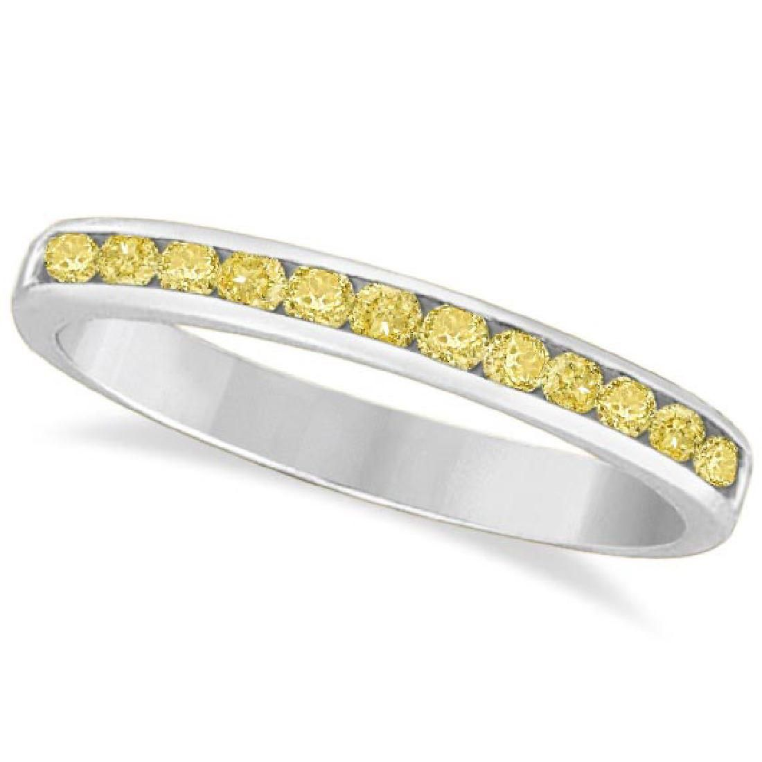 Channel-Set Yellow Canary Diamond Ring Band 14k White G