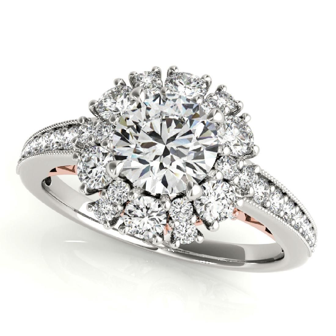 CERTIFIED TWO TONE GOLD 1.41 CT G-H/VS-SI1 DIAMOND HALO