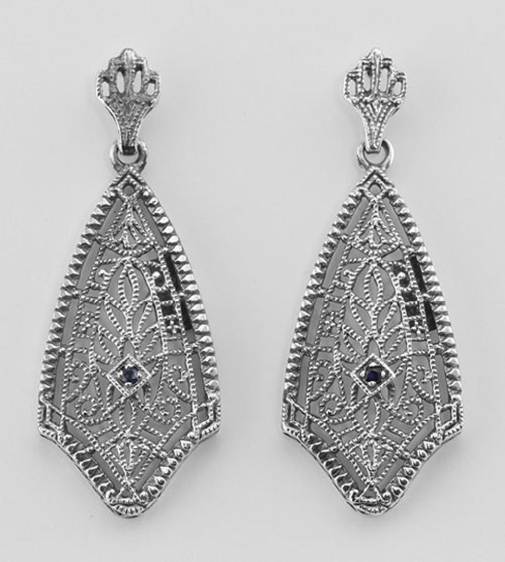 Filigree Earrings w/ Genuine Blue Sapphire - Sterling S