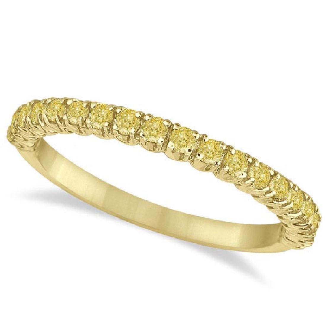 Half-Eternity Pave Thin Yellow Diamond Ring 14k Yellow