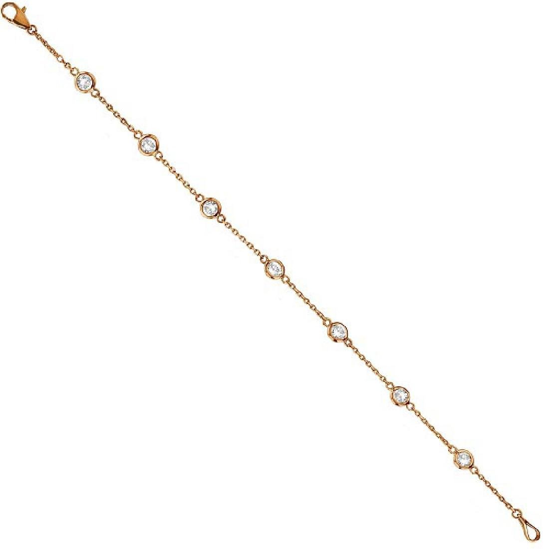 Diamonds by The Yard Bezel-Set Bracelet 14K Rose Gold (