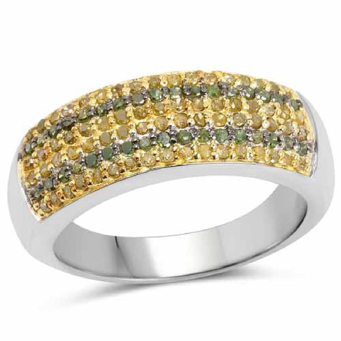 0.43 Carat Genuine Green Diamond and Yellow Diamond .92