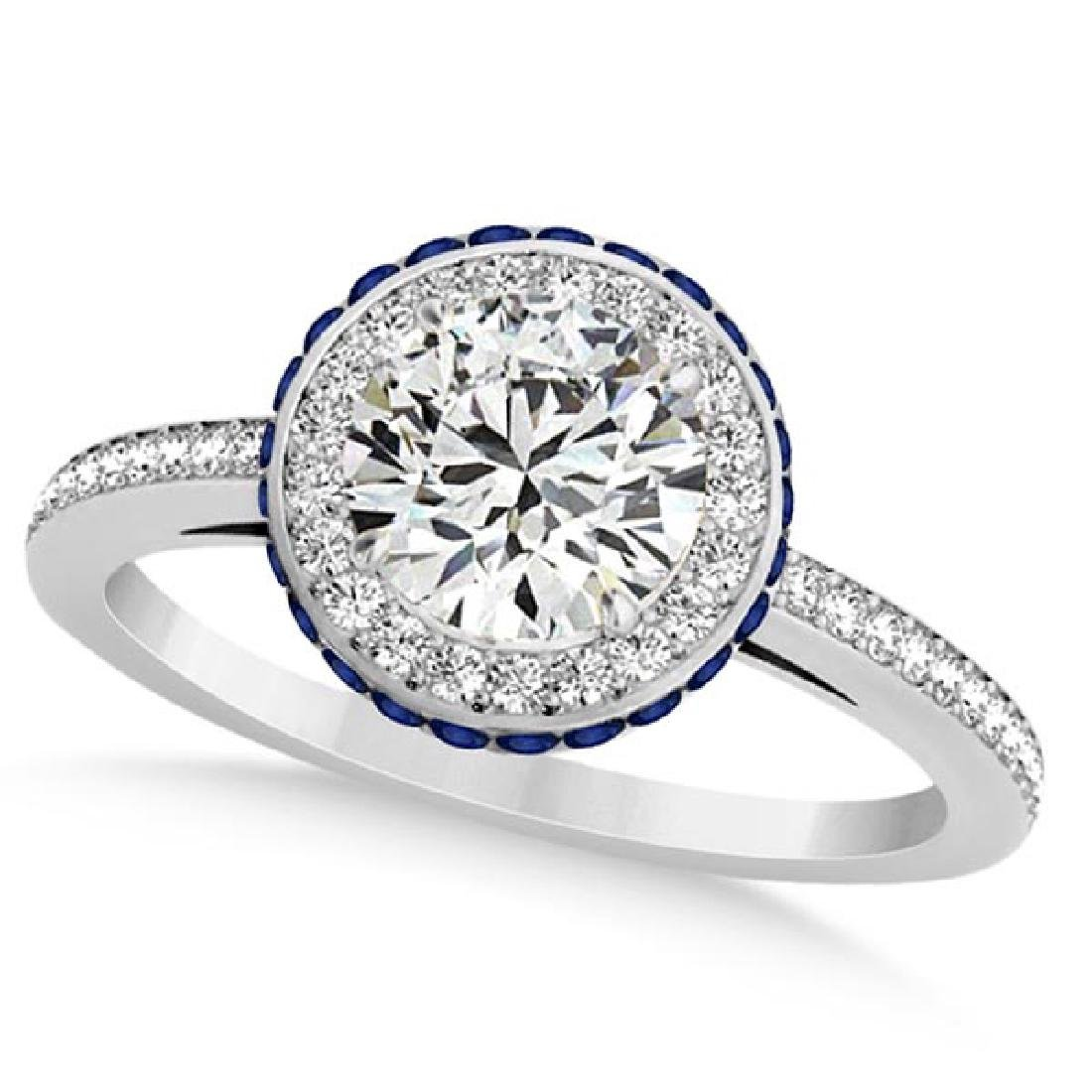 Diamond Halo and Sapphire Gemstone Engagement Ring 14k