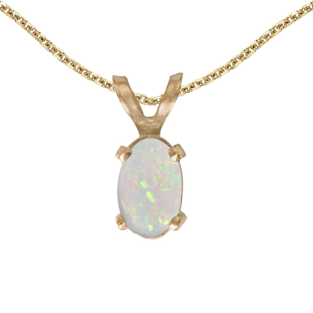 Certified 14k Yellow Gold Oval Opal Pendant 0.19 CTW