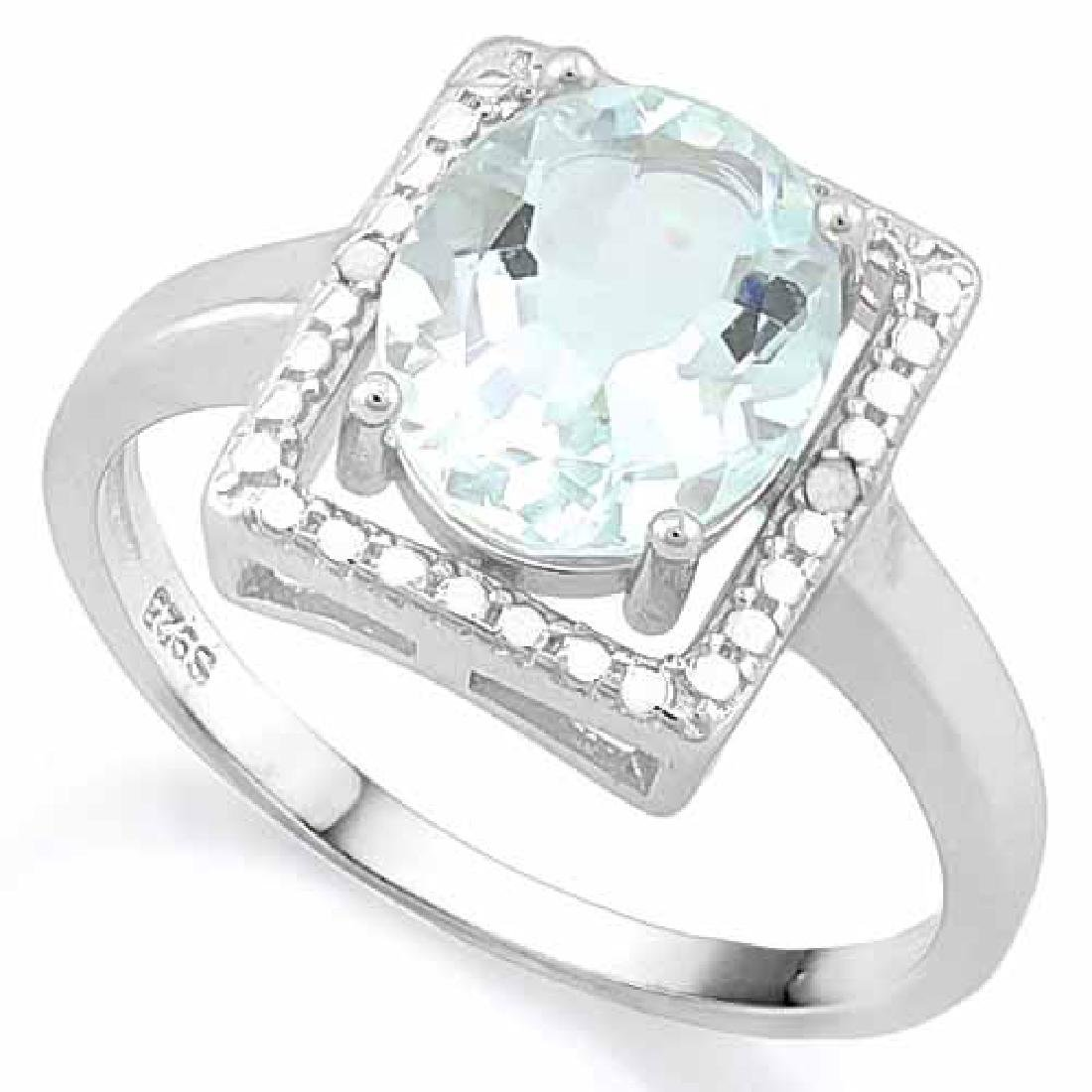 2 1/4 CARAT AQUAMARINE & DIAMOND 925 STERLING SILVER RI