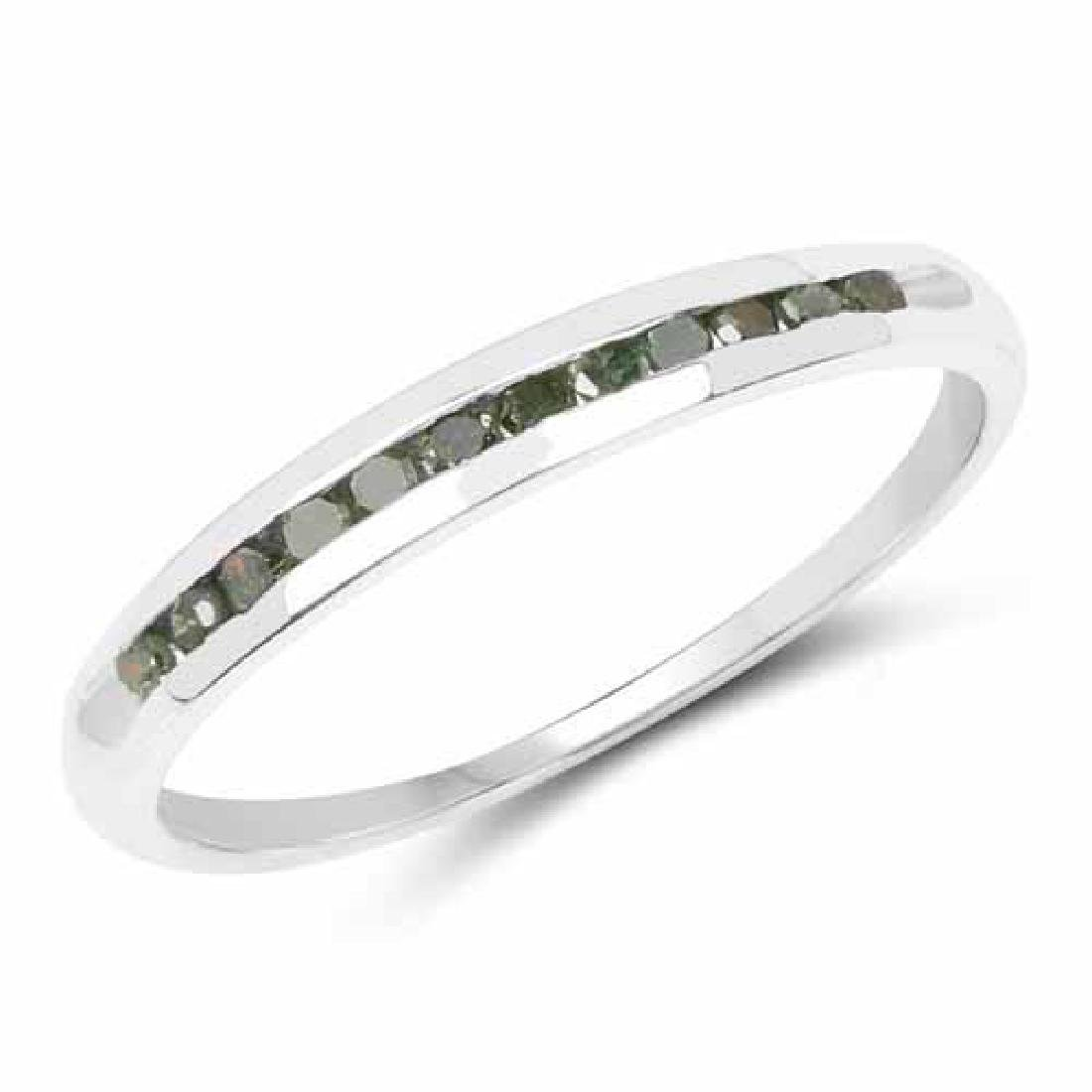 0.18 Carat Genuine Green Diamond .925 Sterling Silver R