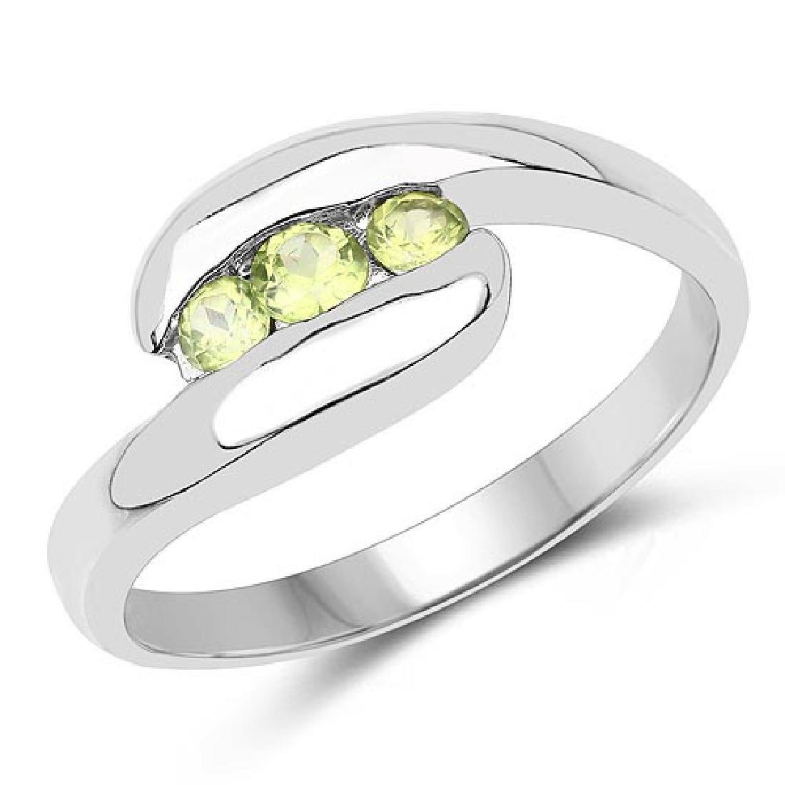 0.56 Carat Genuine Peridot .925 Sterling Silver Ring
